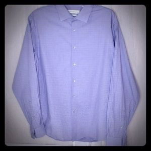 Calvin Klein purple and white small squares shirt